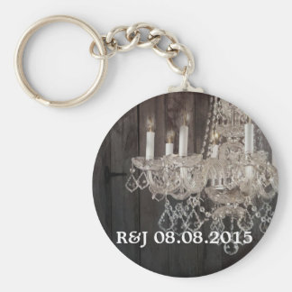 Rustic barn wood chandelier wedding favor keychain