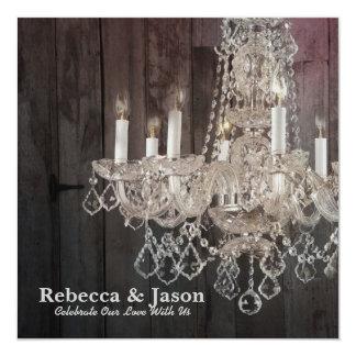 Rustic barn wood chandelier wedding invitation