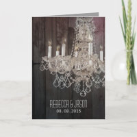 Rustic barn wood chandelier wedding invitation
