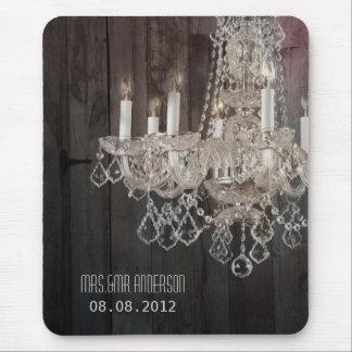 Rustic barn wood chandelier wedding mouse pad