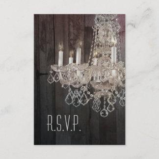 Rustic barn wood chandelier wedding RSVP response