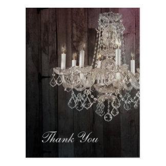 Rustic barn wood chandelier wedding thank you postcard