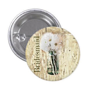 rustic barn wood country daisy bridesmaid pinback button