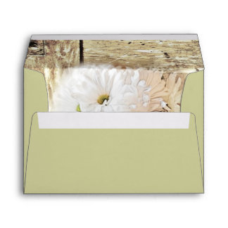 rustic barn wood country daisy wedding envelope