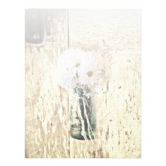 rustic barn wood country daisy wedding letterhead