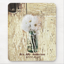 rustic barn wood country daisy wedding mouse pad