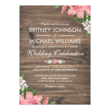 Rustic Barn Wood Country Floral Wedding Invitation