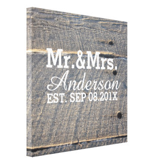 rustic  barn wood country wedding mr and mrs gallery wrapped canvas