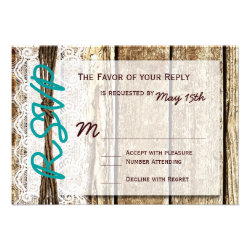 Rustic Barn Wood Country Wedding RSVP Cards