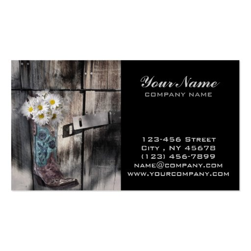 rustic barn wood cowboy boots western country business card