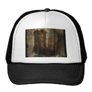 Rustic barn wood cowboy boots western country trucker hat