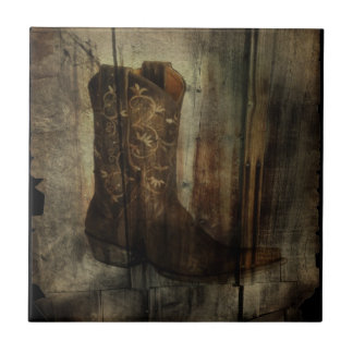 Rustic barn wood cowboy boots western country small square tile