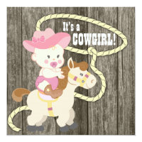 Rustic Barn Wood Cowgirl Baby Shower Card