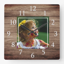 Rustic Barn Wood Custom Photo Square Wall Clock