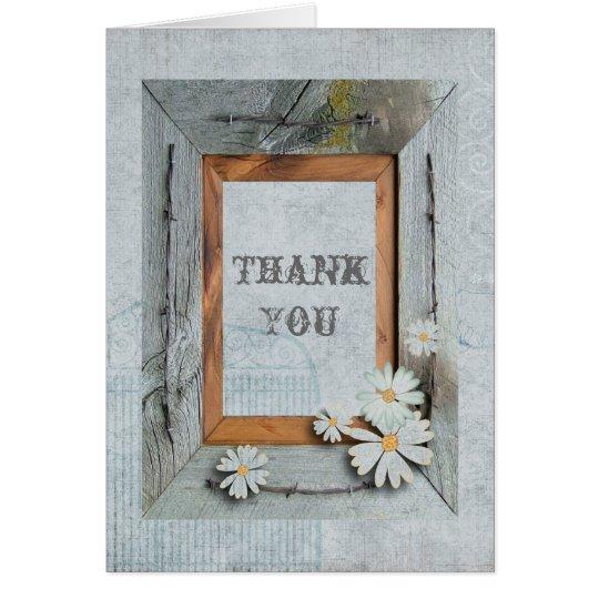 rustic barn wood daisy country wedding thank you card