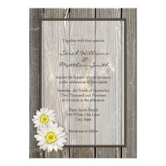 Rustic Barn Wood Daisy Wedding Invitations