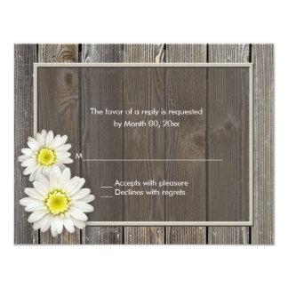 Rustic Barn Wood Daisy Wedding RSVP Response Cards