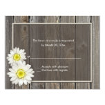 "Rustic Barn Wood Daisy Wedding RSVP Response Cards 4.25"" X 5.5"" Invitation Card"
