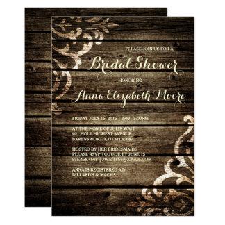 Rustic Barn Wood Damask Vintage Bridal Shower Card