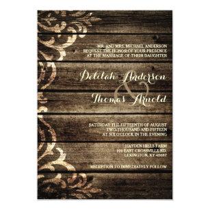 Damask wedding invitations zazzle rustic barn wood damask vintage wedding invitation filmwisefo Choice Image