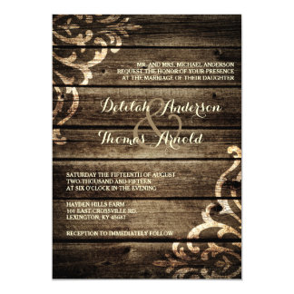 Elegant Rustic Barn Wood Damask Vintage Wedding Invitation