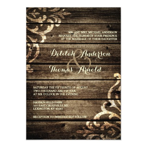 Rustic Barn Wood Damask Vintage Wedding Invitation