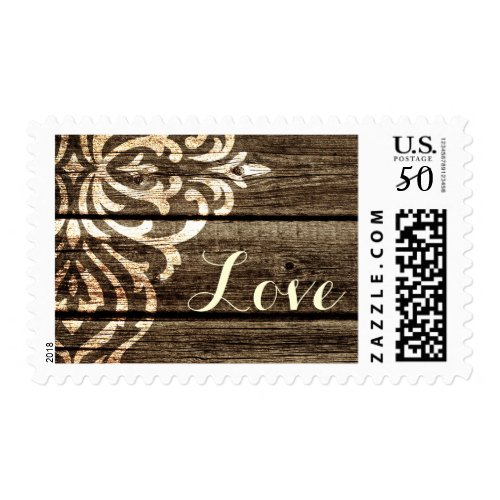 Rustic Wood Damask Vintage Wedding Postage