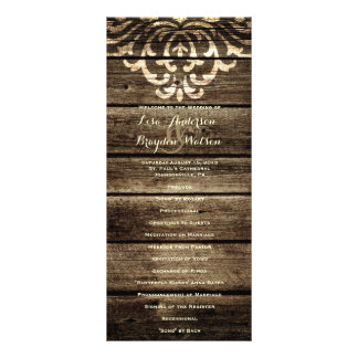 Rustic Barn Wood Damask Vintage Wedding Program