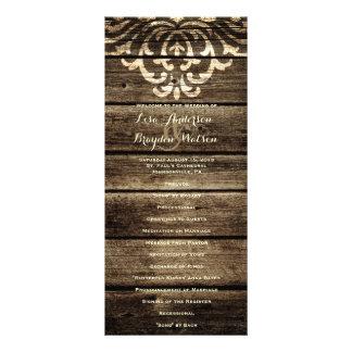 Rustic Barn Wood Damask Vintage Wedding Program