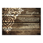 Rustic Barn Wood Damask Vintage Wedding Reception Card