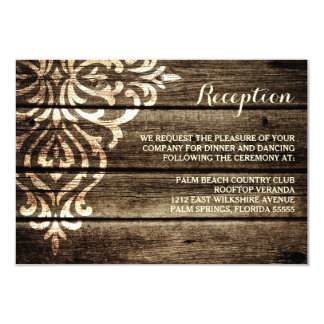 Rustic Barn Wood Damask Vintage Wedding Reception 3.5x5 Paper Invitation Card