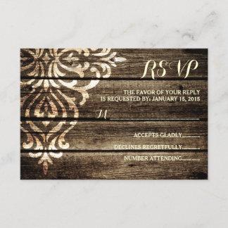 Rustic Barn Wood Damask Vintage Wedding RSVP Card