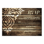 Rustic Barn Wood Damask Vintage Wedding RSVP Card