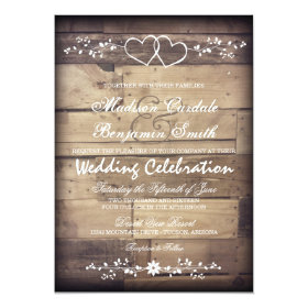 Rustic Barn Wood Double Hearts Wedding Invitations