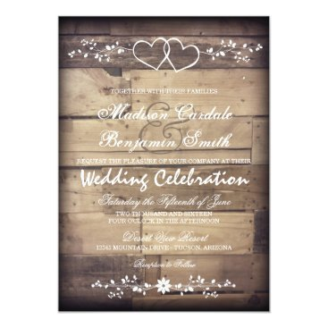 RusticCountryWedding Rustic Barn Wood Double Hearts Wedding Invitations