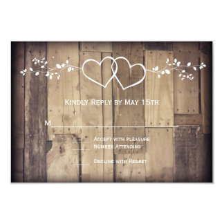 Rustic Barn Wood Double Hearts Wedding RSVP Cards