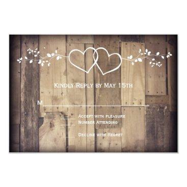 RusticCountryWedding Rustic Barn Wood Double Hearts Wedding RSVP Cards