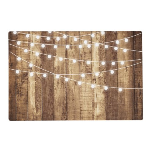 Rustic Barn Wood Fairy Lights Dining Room Table Placemat