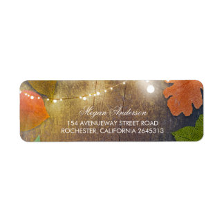Rustic Barn Wood Fall Leaves and String Lights Label