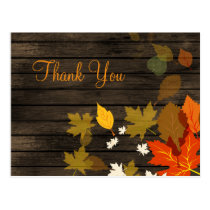 Rustic Barn Wood Fall Wedding Thank You Postcard