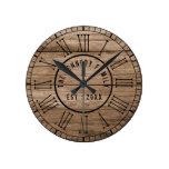 Rustic Barn Wood Farmhouse Black Roman Numerals Round Clock