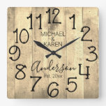 Rustic Barn Wood Farmhouse Custom Family Name Square Wall Clock