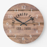 Rustic Barn Wood Farmhouse Family Name Large Clock