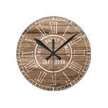 Rustic Barn Wood Farmhouse White Roman Numerals Round Clock
