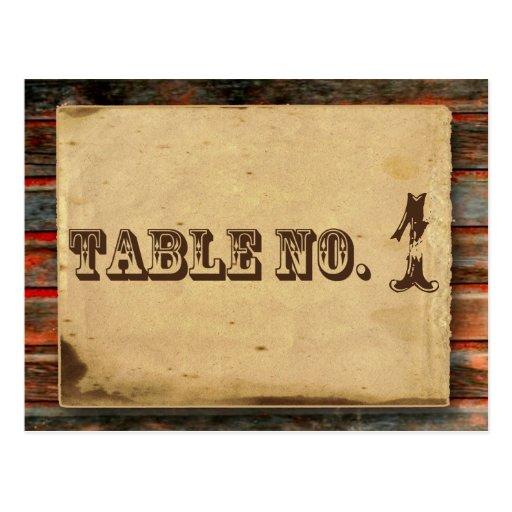 Rustic Barn Wood Graffiti Heart Table Number Postcard