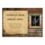 """Rustic Barn Wood Graffiti Heart Window Invitation 5"""" X 7"""" Invitation Card"""