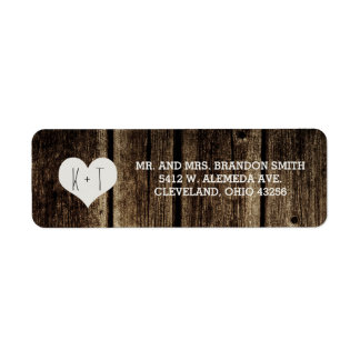 Rustic Barn Wood Heart Wedding Labels
