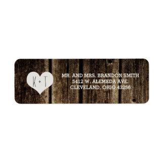 Rustic Barn Wood Heart Wedding Labels