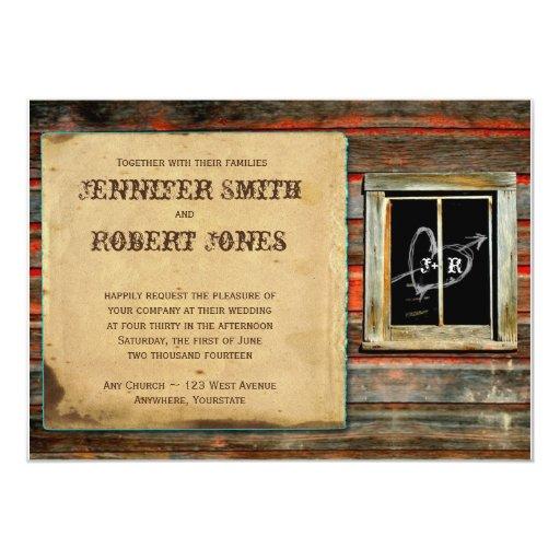 Rustic Barn Wood Heart Window Wedding Invitation