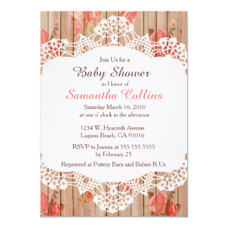 Rustic Barn Wood Lace Baby Shower Invitation